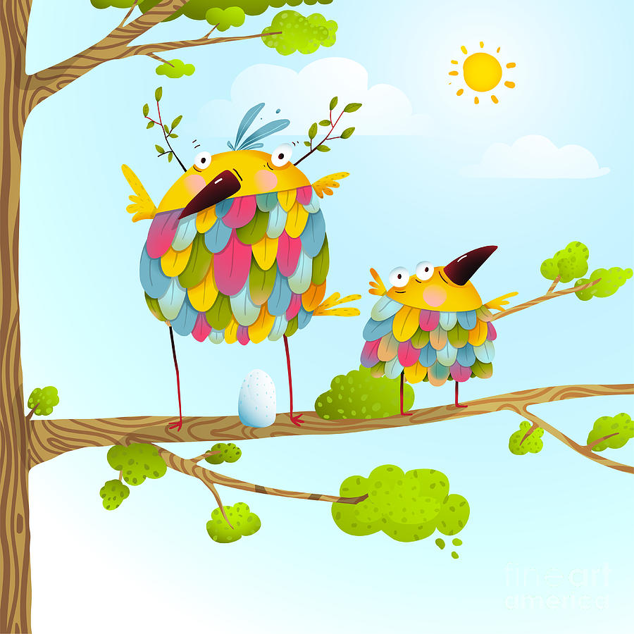 Love Digital Art - Funny Bird On Tree Family Mother And by Popmarleo