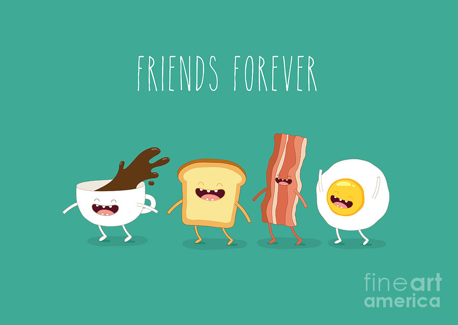 Lunch Digital Art - Funny Breakfast Up Of Coffee Egg by Serbinka
