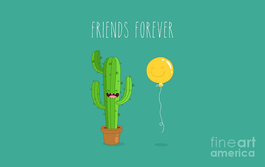Gift Digital Art - Funny Cactus With Air Balloon. Vector by Serbinka