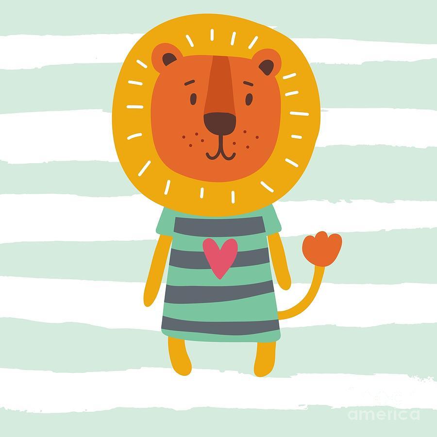 Happy Digital Art - Funny Cartoon Lion Vector Print by Nadezda Barkova