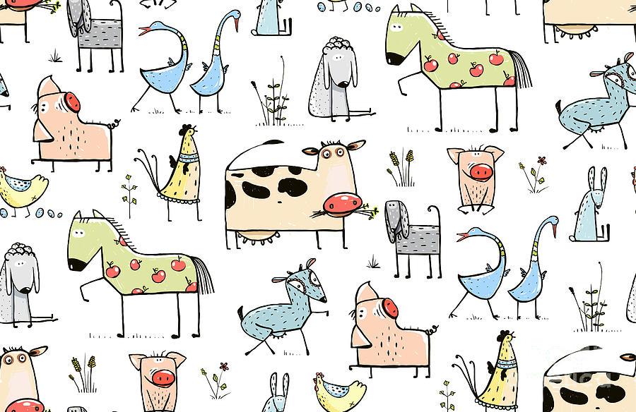 Country Digital Art - Funny Cartoon Village Domestic Animals by Popmarleo
