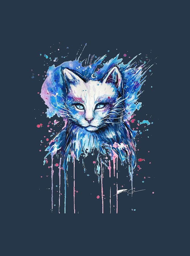 Funny Cat Isolated On A Blue Background Drawing By Duminda Koswatta