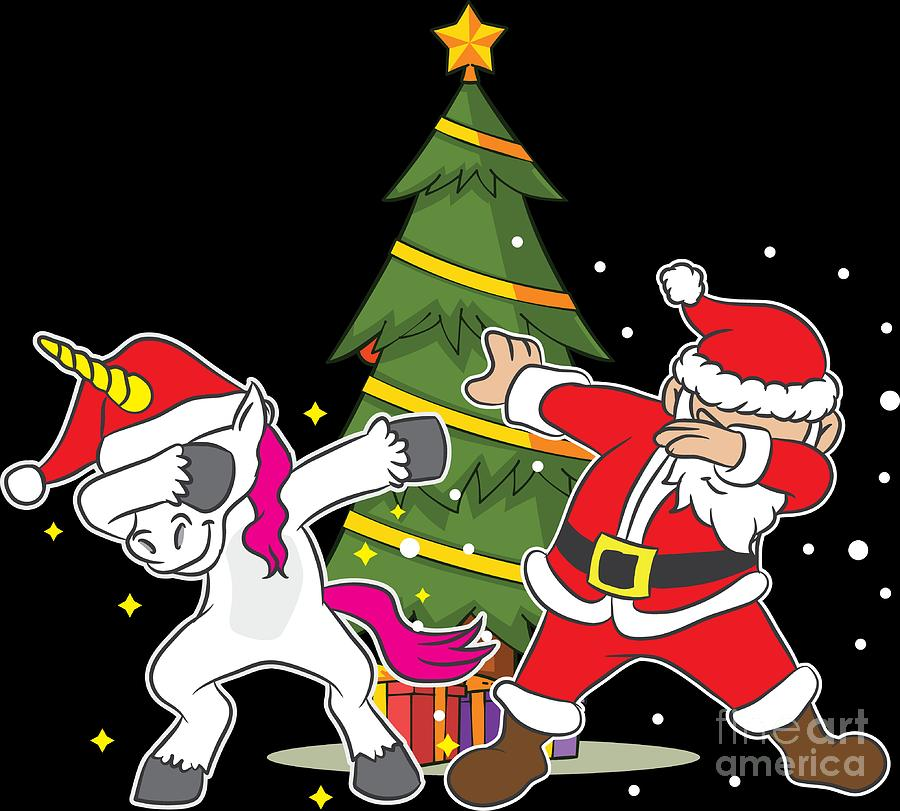 Christmas Unicorn.Funny Christmas Xmas Dabbing Santa Unicorn Holiday Gift