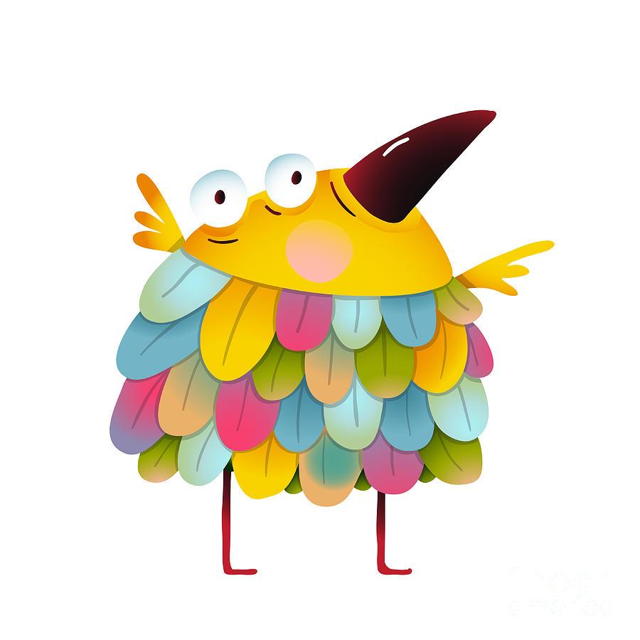 Small Digital Art - Funny  Colorful Bird For Kids Cartoon by Popmarleo