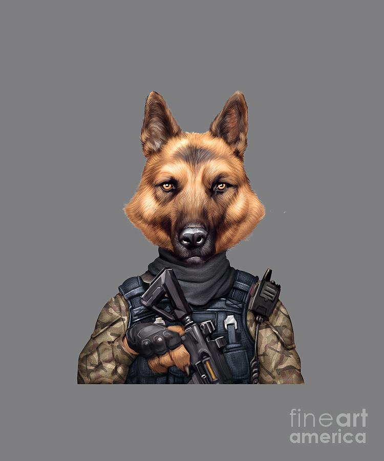 Funny Cool German Shepherd Soldier Dog Wearing Army Military