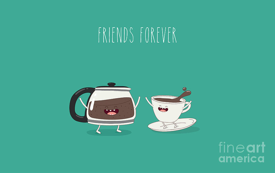 Friendship Digital Art - Funny Cup Of Coffee And Funny Coffee by Serbinka