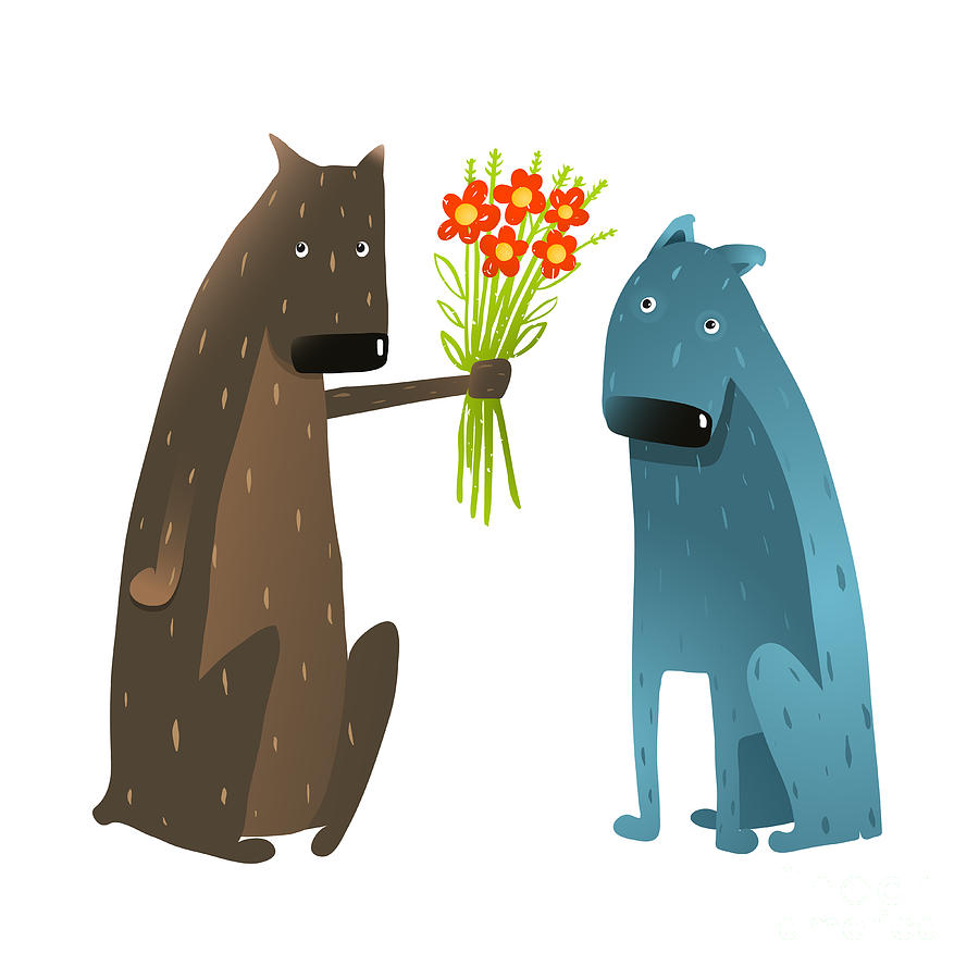 Love Digital Art - Funny Dog In Love Presenting Flowers To by Popmarleo