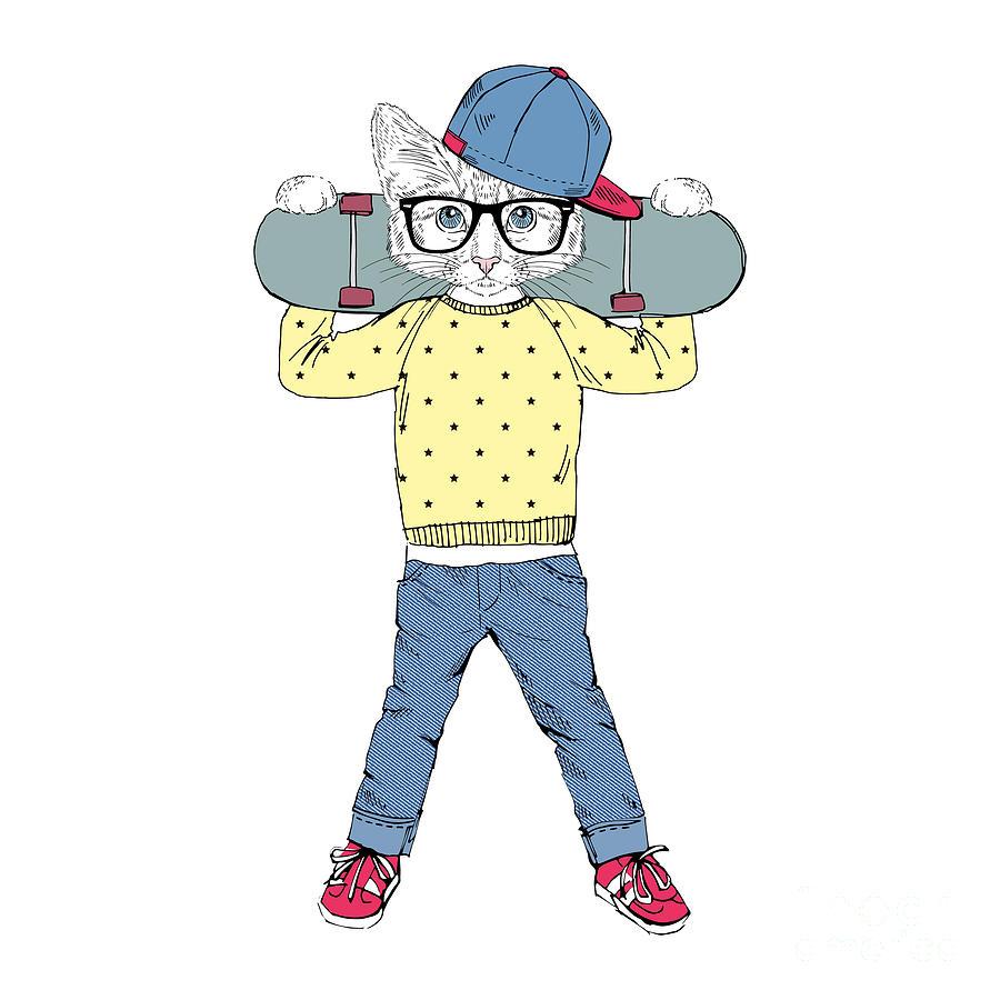 Skateboard Digital Art - Funny Kitten Boy With Skateboard by Olga angelloz