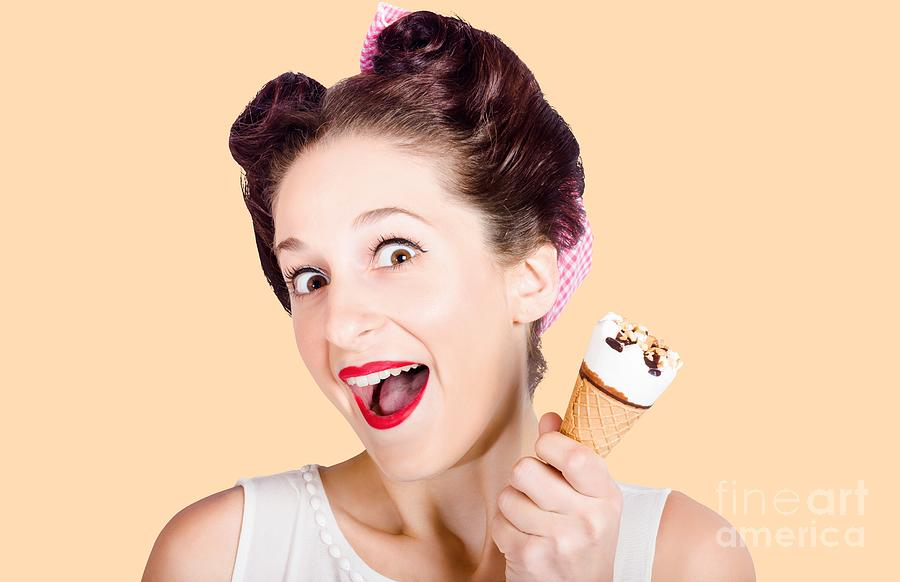 Ice Cream Photograph - Funny Pinup Girl With Ice Cream In Isolated Studio by Jorgo Photography - Wall Art Gallery