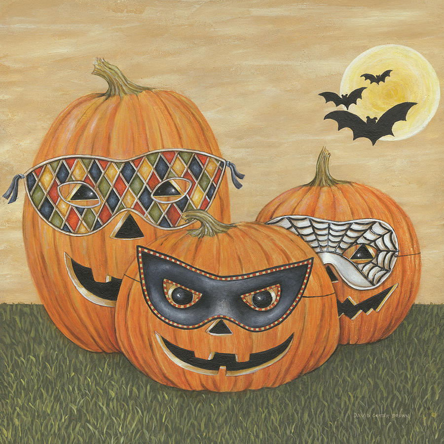 Funny Pumpkins Painting By David Carter Brown