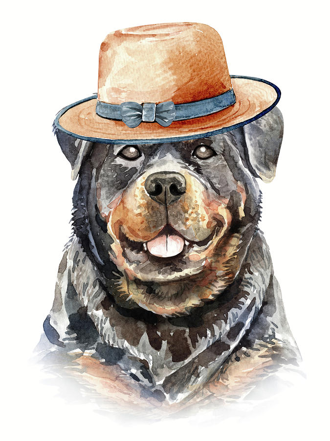 Funny Rottweiler With Hat by Cool Vintage Art