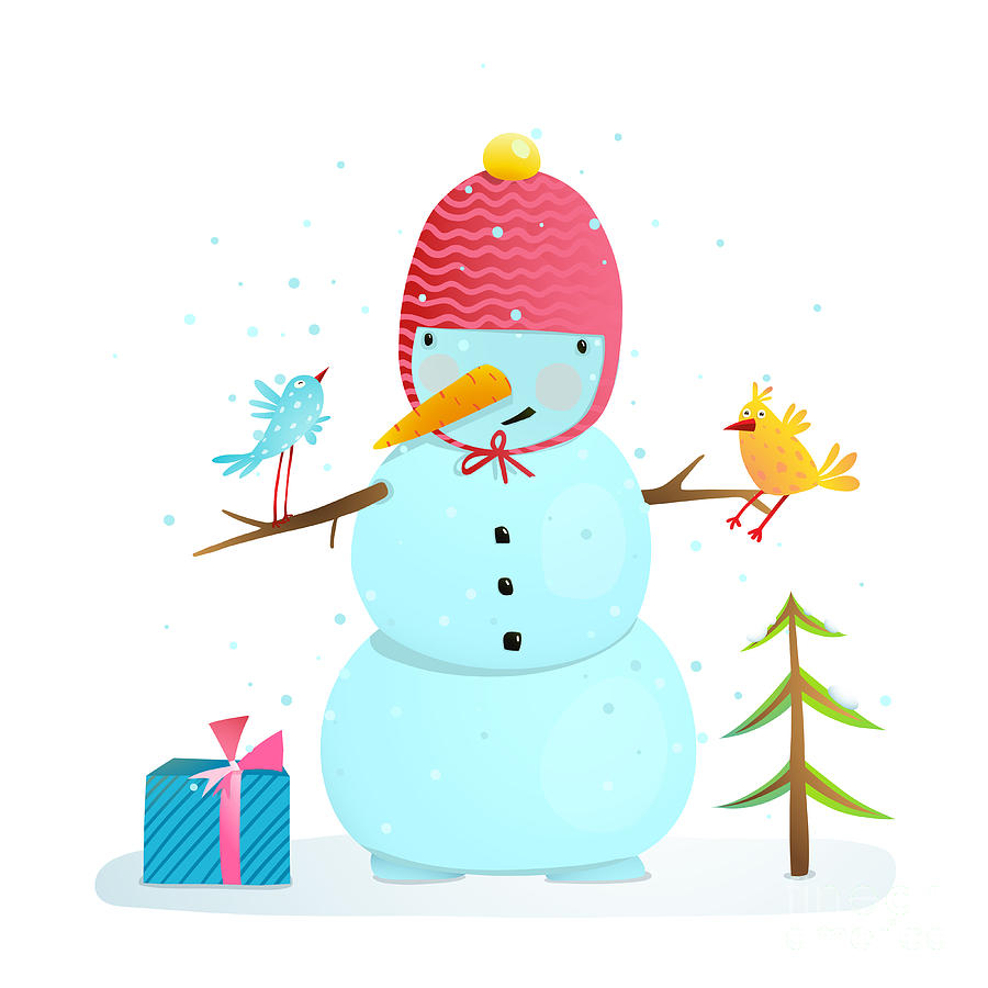 Gift Digital Art - Funny Snowman With Birds Present And by Popmarleo