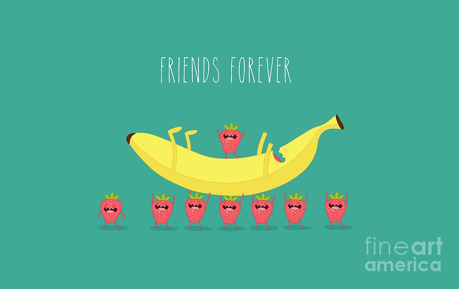 Berry Digital Art - Funny Strawberry With Banana. Comic by Serbinka