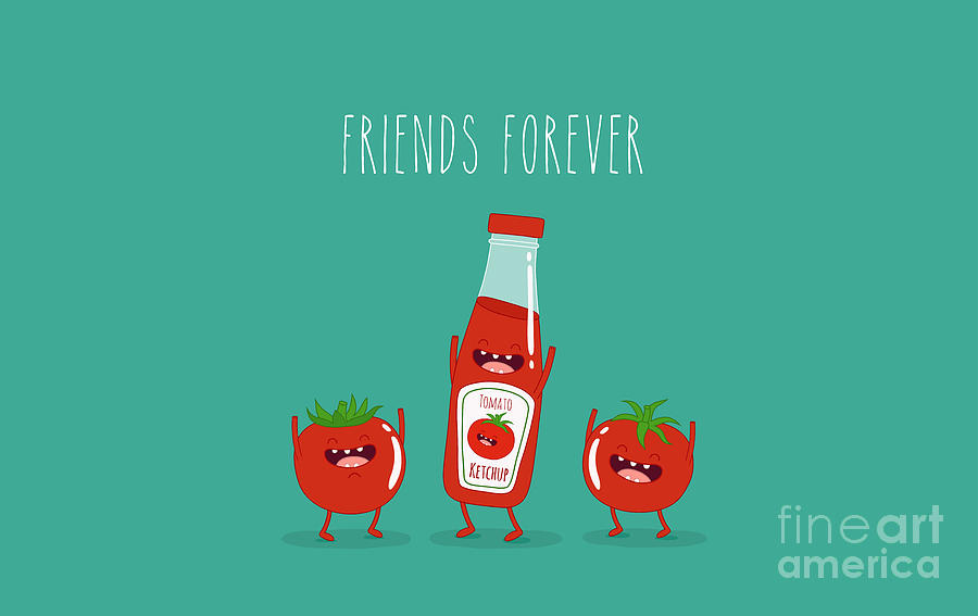 Container Digital Art - Funny Tomato Ketchup And Tomato. Friend by Serbinka