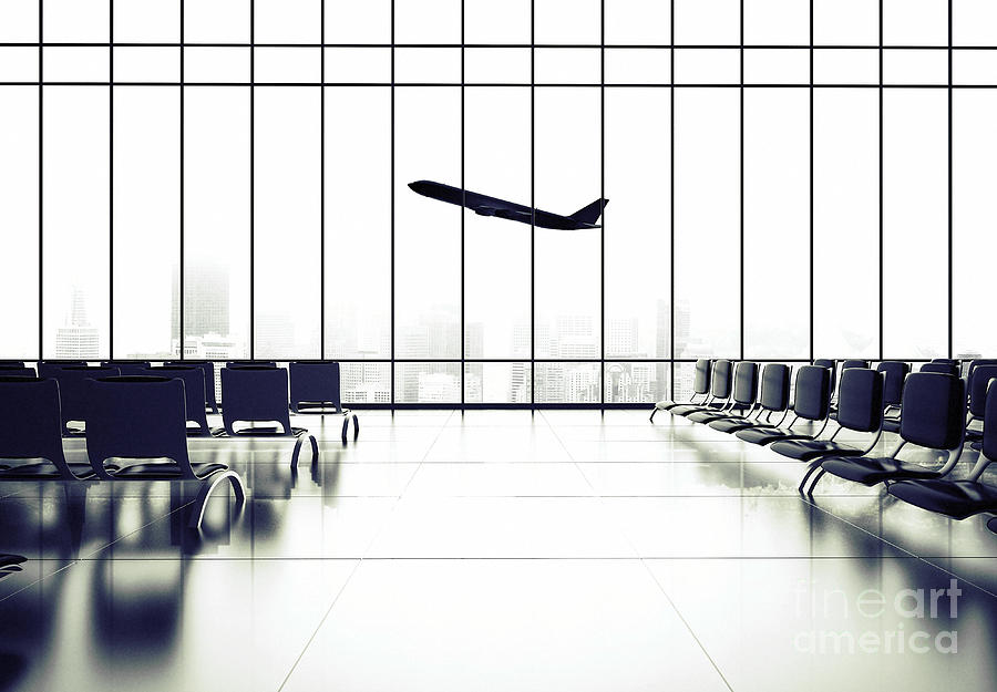 Plane Photograph - Futuristic Airport And Big Airliner In by Peshkova