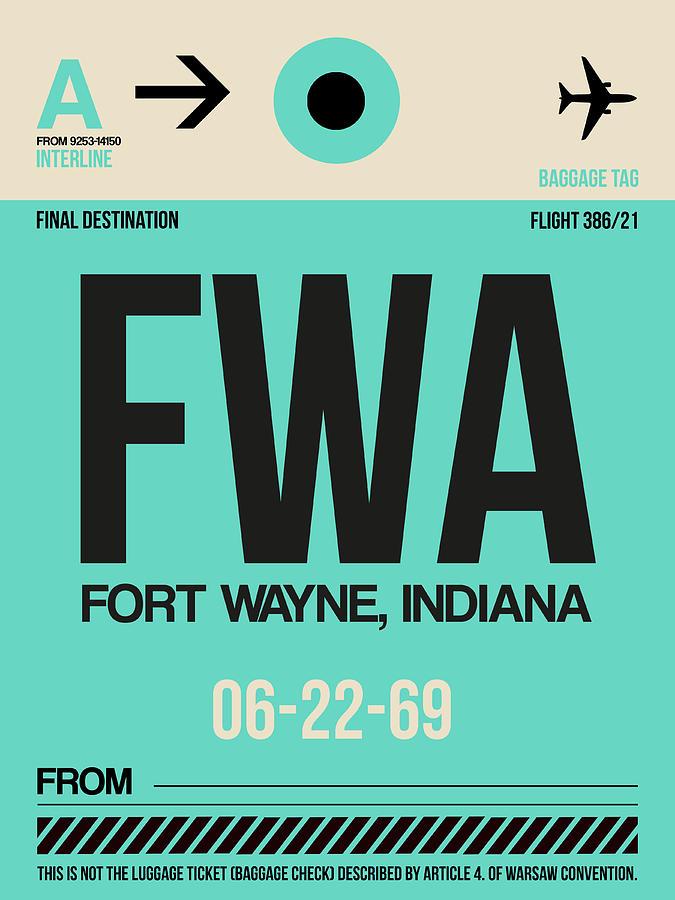 Vacation Digital Art - Fwa Fort Wayne Luggage Tag I by Naxart Studio