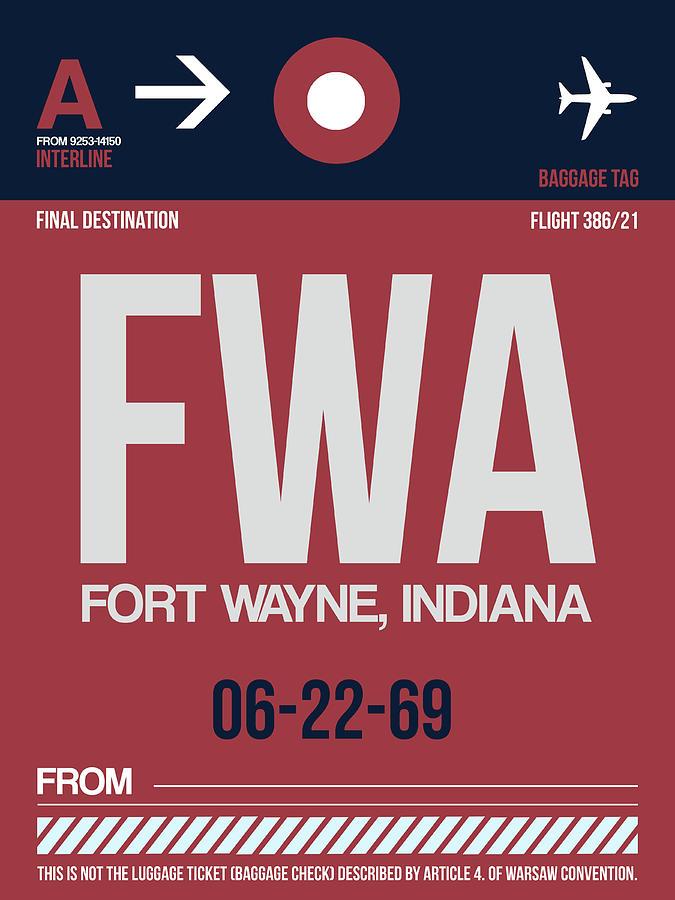 Vacation Digital Art - Fwa Fort Wayne Luggage Tag II by Naxart Studio