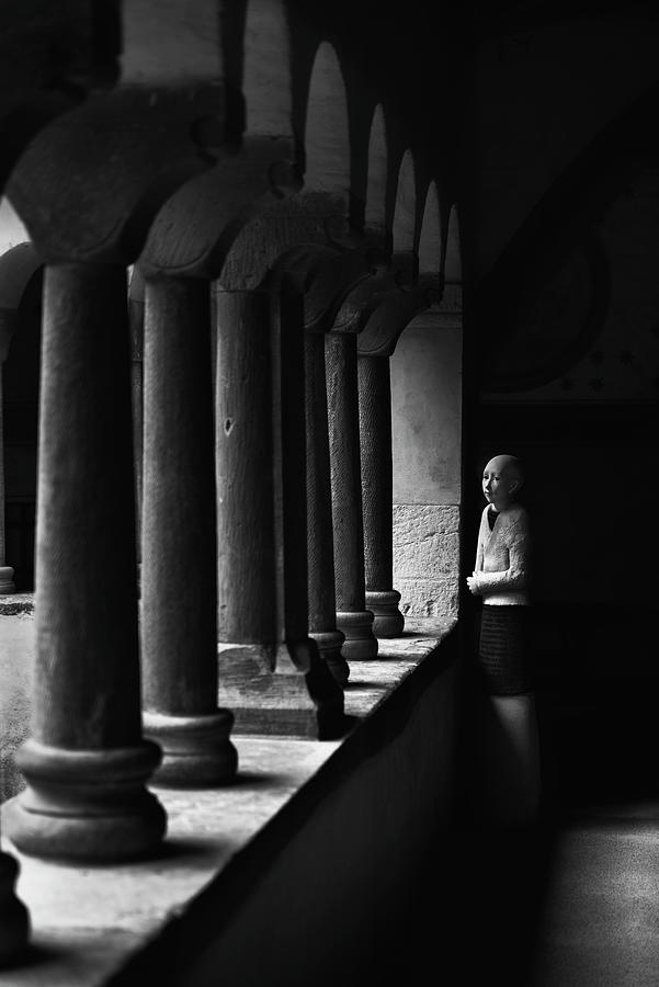 Gaby Kretz's sculpture in the cloister of Saint-Pierre-le-Jeune Protestant Church, Strasbourg BW by RicardMN Photography