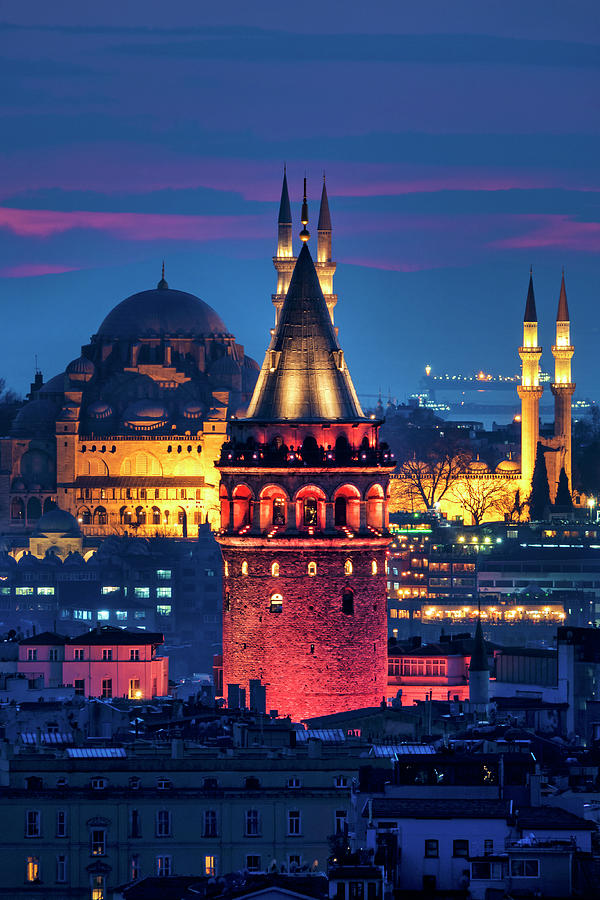 Galata Photograph - Galata Tower And Suleymaniye Mosque by Fabrizio Troiani