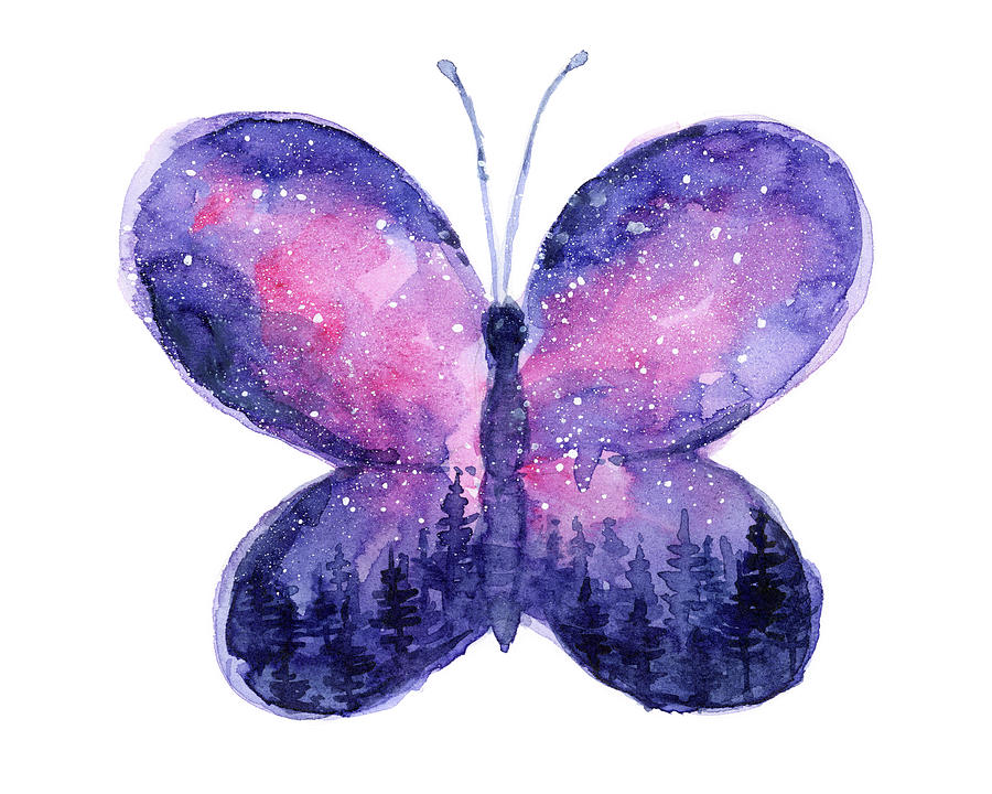 Butterfly Painting - Galaxy Butterfly Pink by Olga Shvartsur