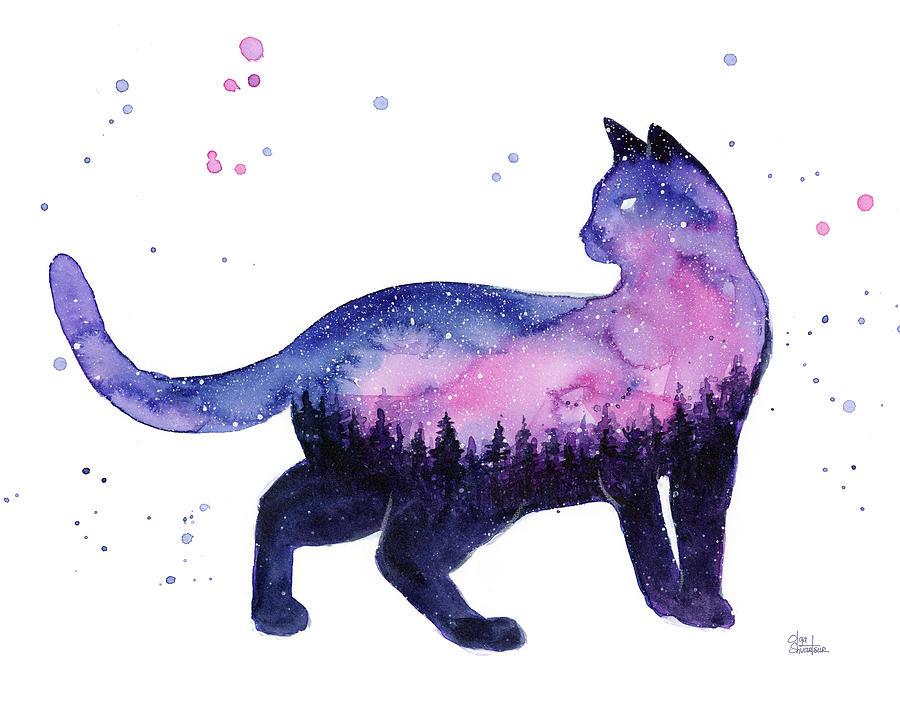 Nebula Painting - Galaxy Forest Cat by Olga Shvartsur