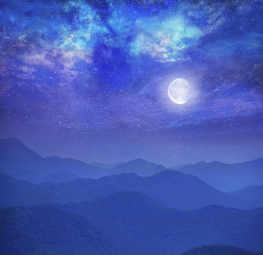 Galaxy With Moon In Mountains Photograph by Dtokar