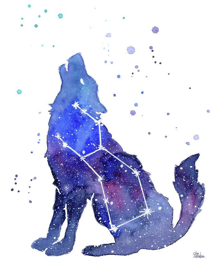 Wolf Painting - Galaxy Wolf - Lupus Constellation by Olga Shvartsur