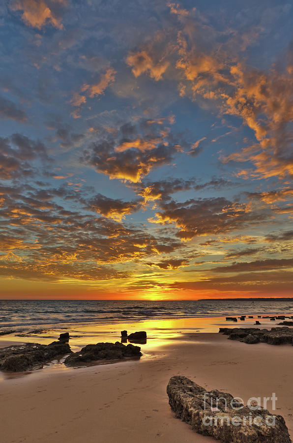 Seascape Photograph - Gale Beach at Sunset. In Algarve by Angelo DeVal