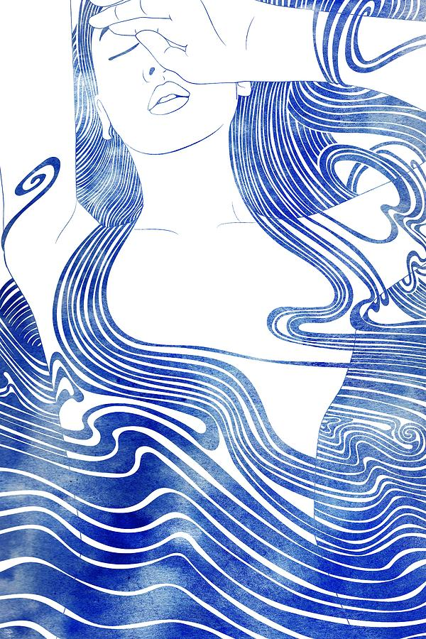 Aqua Mixed Media - Galene by Stevyn Llewellyn