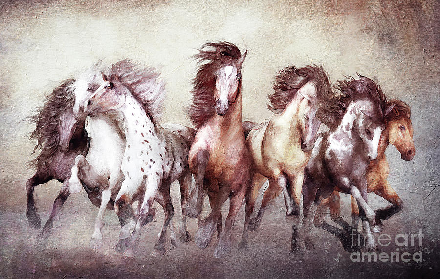 Horse Digital Art - Galloping Horses Magnificent Seven by Shanina Conway