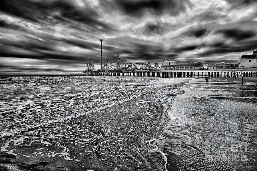 Galveston Beach In Black And White Photograph