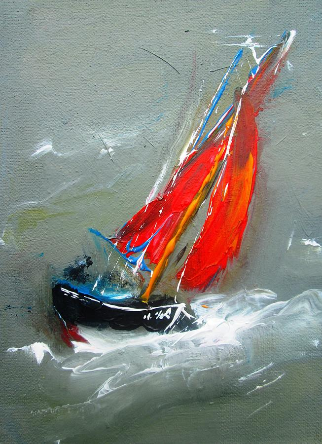 galway hooker sailing boat paintings by Mary Cahalan Lee- aka PIXI