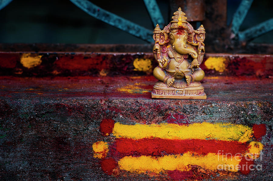 Ganesha on a Rural Hindu Temple in India by Tim Gainey