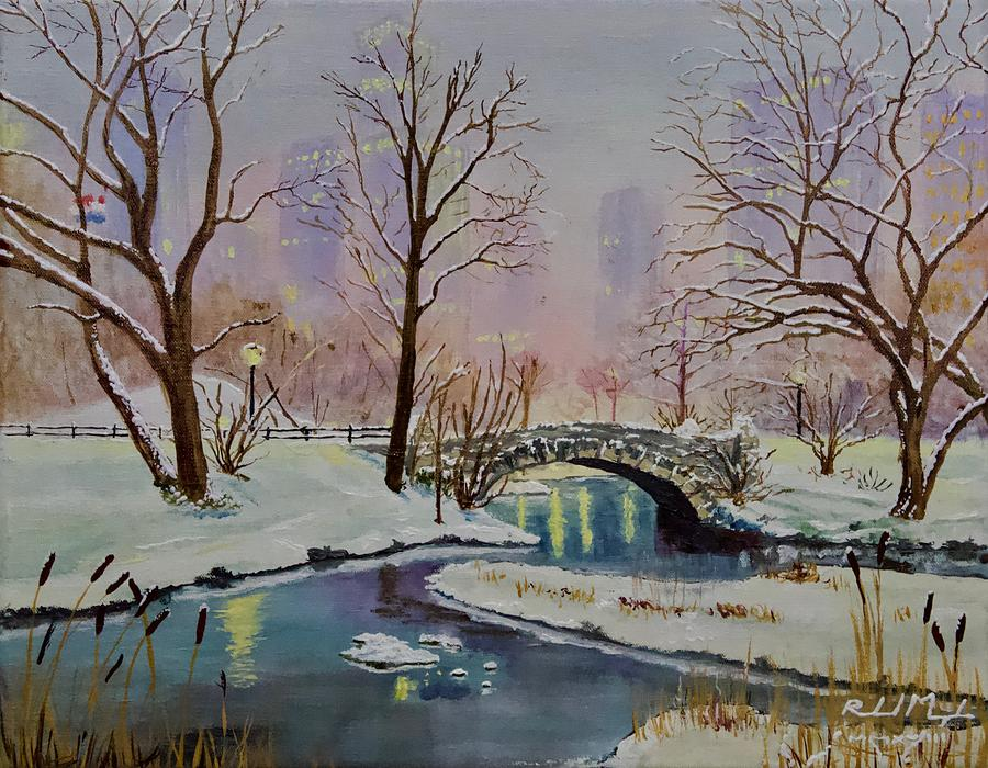 Gapstow Bridge Central Park Nyc No 1 Painting By Roland Miguel