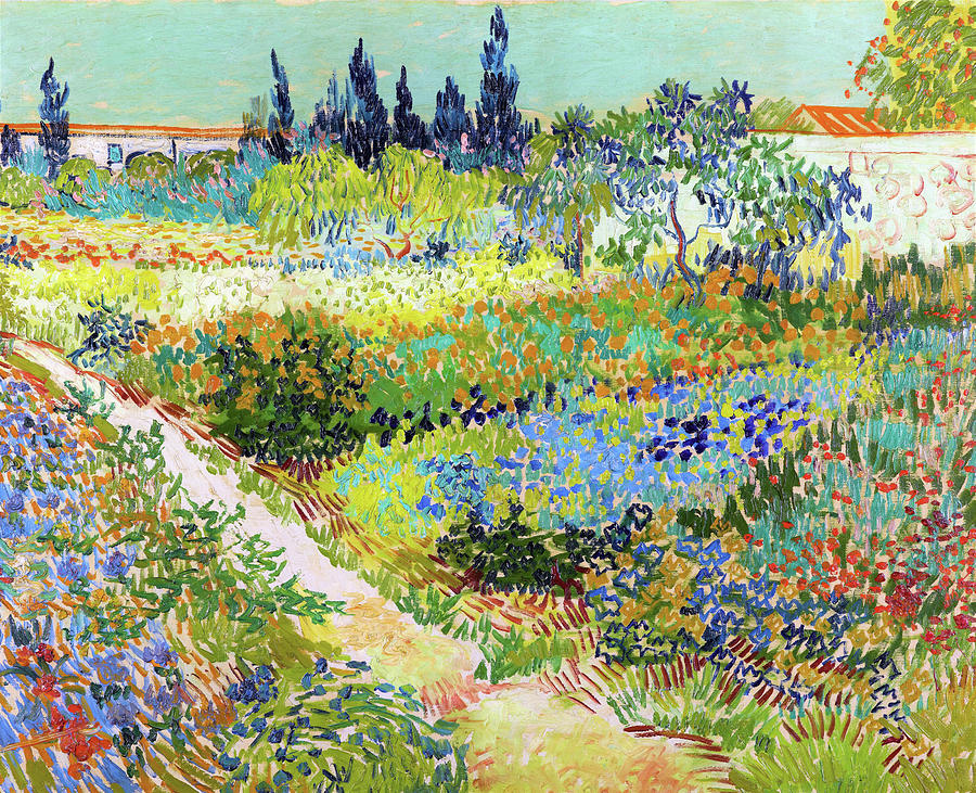 Vincent Van Gogh Painting - Garden At Arles, Flowering Garden With Path - Digital Remastered Edition by Vincent van Gogh