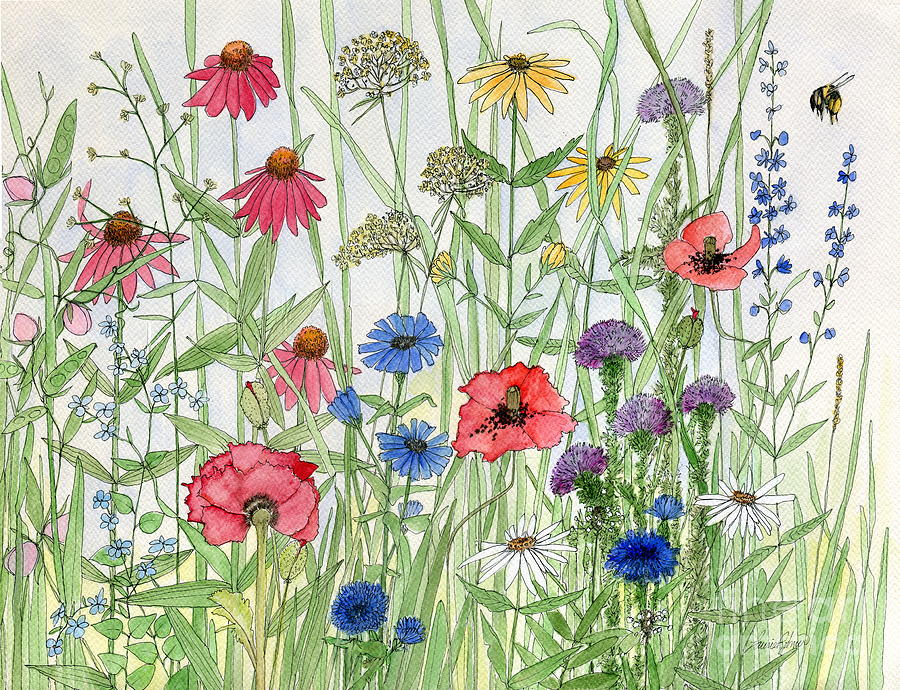 Garden Flower Medley Watercolor by Laurie Rohner