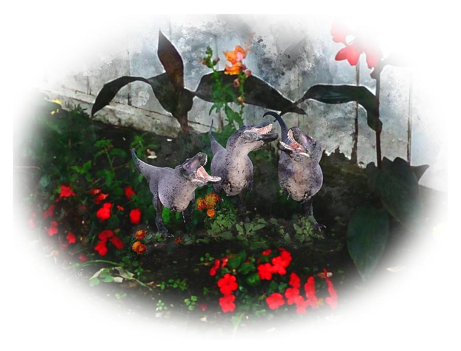 Tyrannosaurus Rex Digital Art - Garden Gossip by Carmen Hathaway