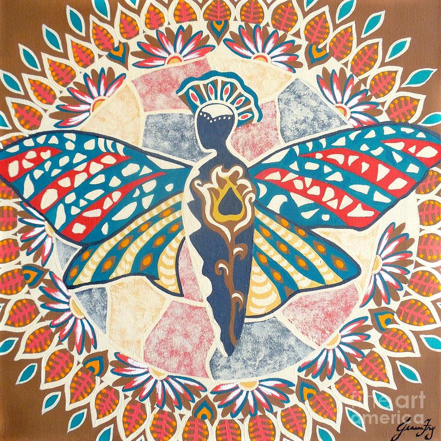 Garden of Bliss Butterfly Mandala by Jean Fry