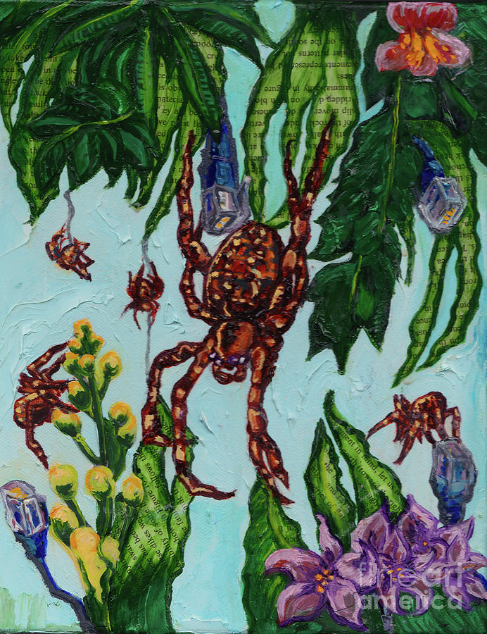 Spider Painting - Garden Orbweaver by Emily McLaughlin