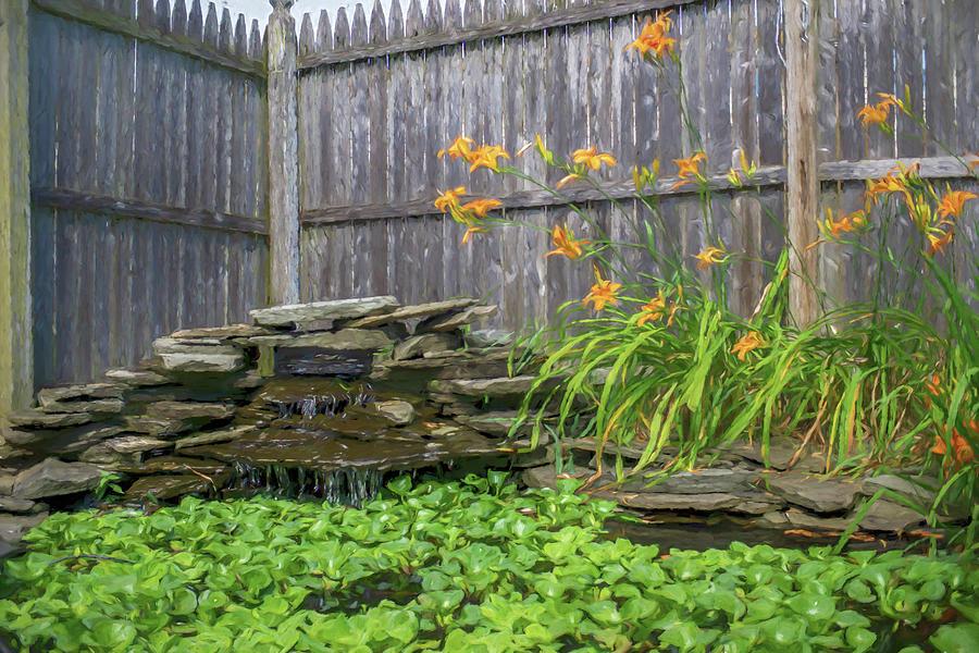 Garden Pond with Orange Day Lilies by Jason Fink