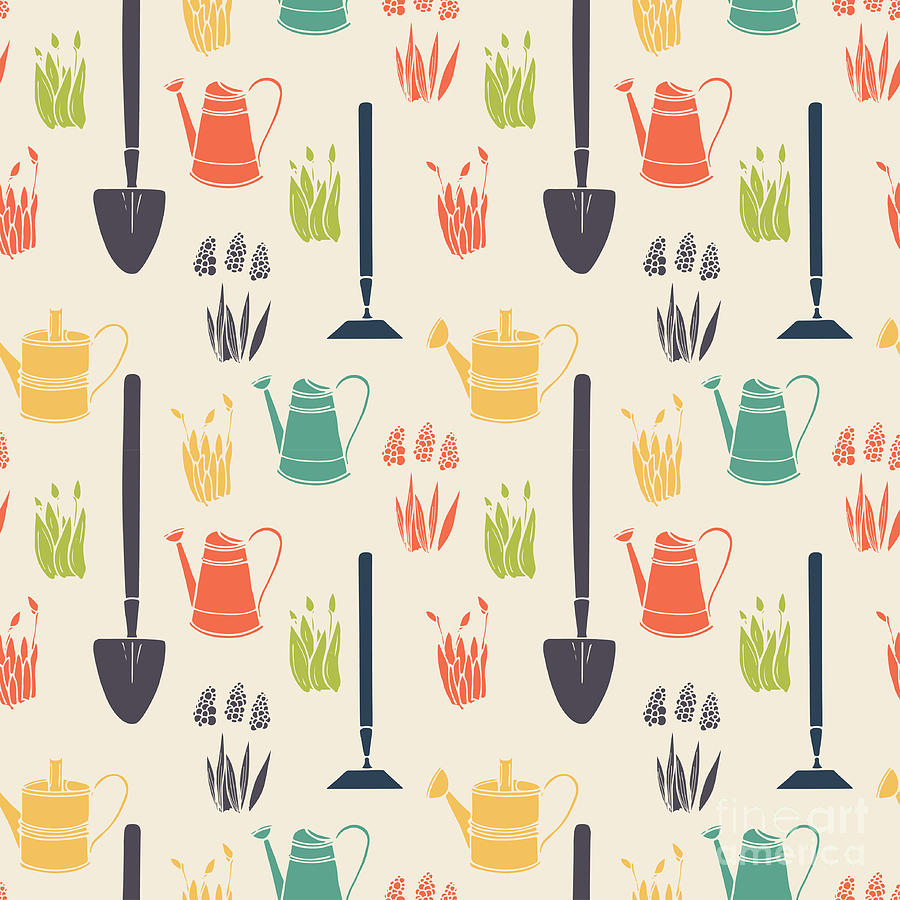 Symbol Digital Art - Garden Seamless Pattern by Tashanatasha