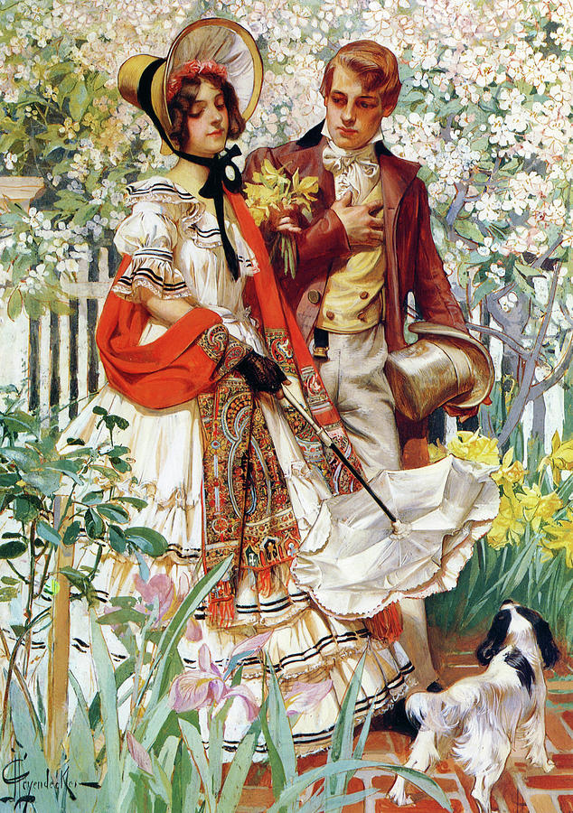Joseph Christian Leyendecker Painting - Garden Walk - Digital Remastered Edition by Joseph Christian Leyendecker