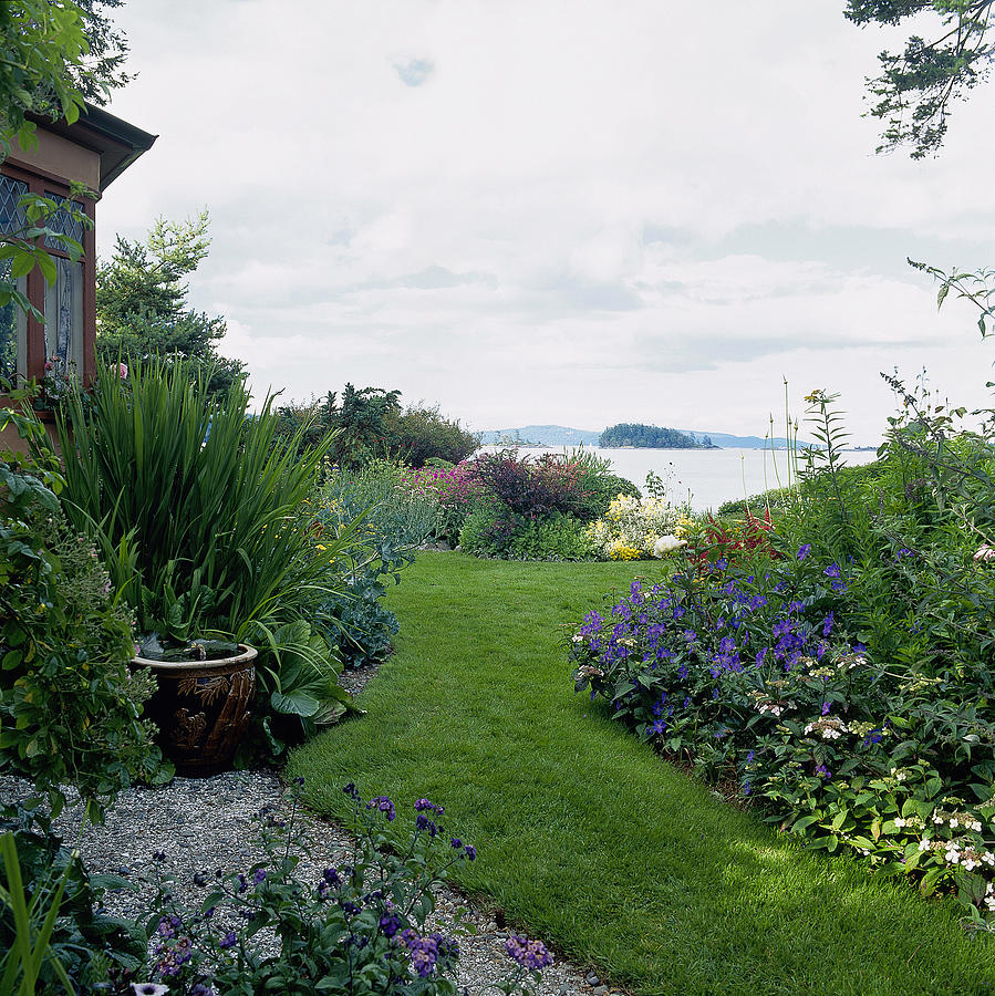 Garden With View To Lake Photograph By Richard Felber
