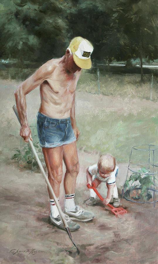 Gardening Painting - Gardeners by Anna Rose Bain