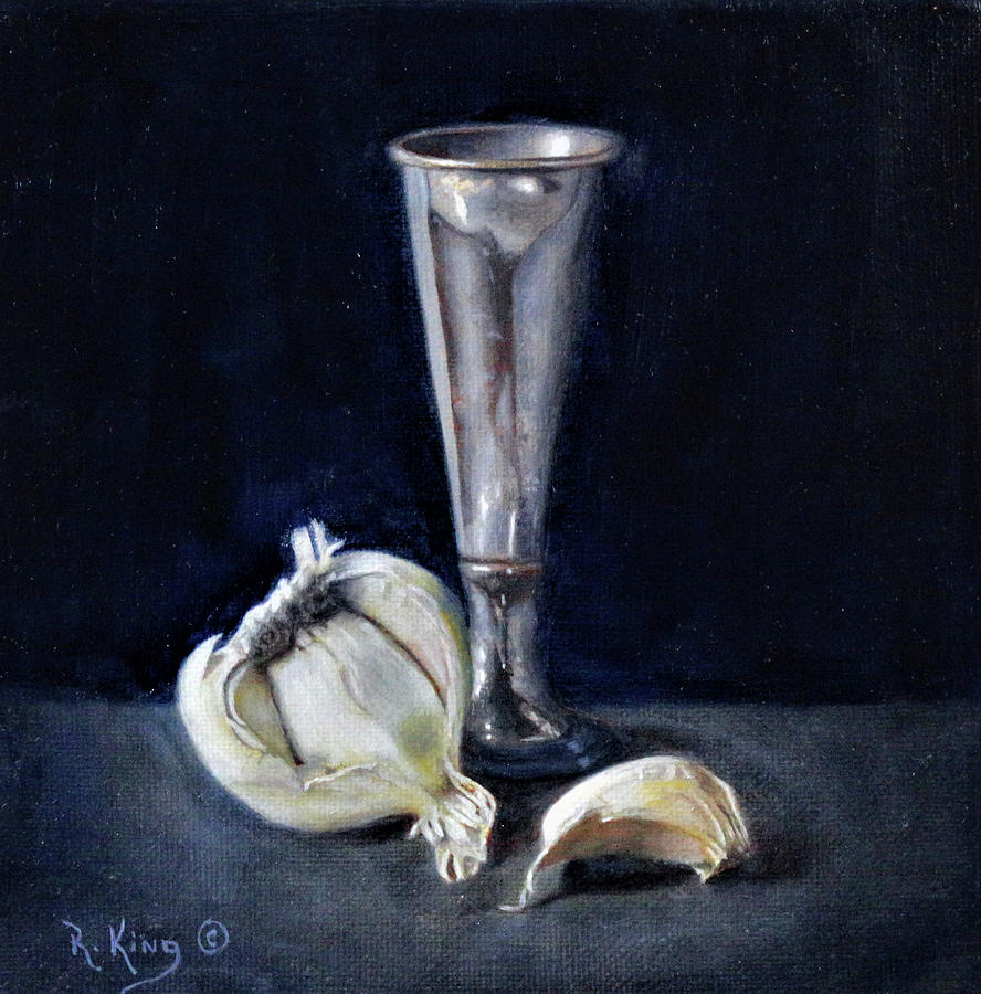 Garlic and Vase by Roena King
