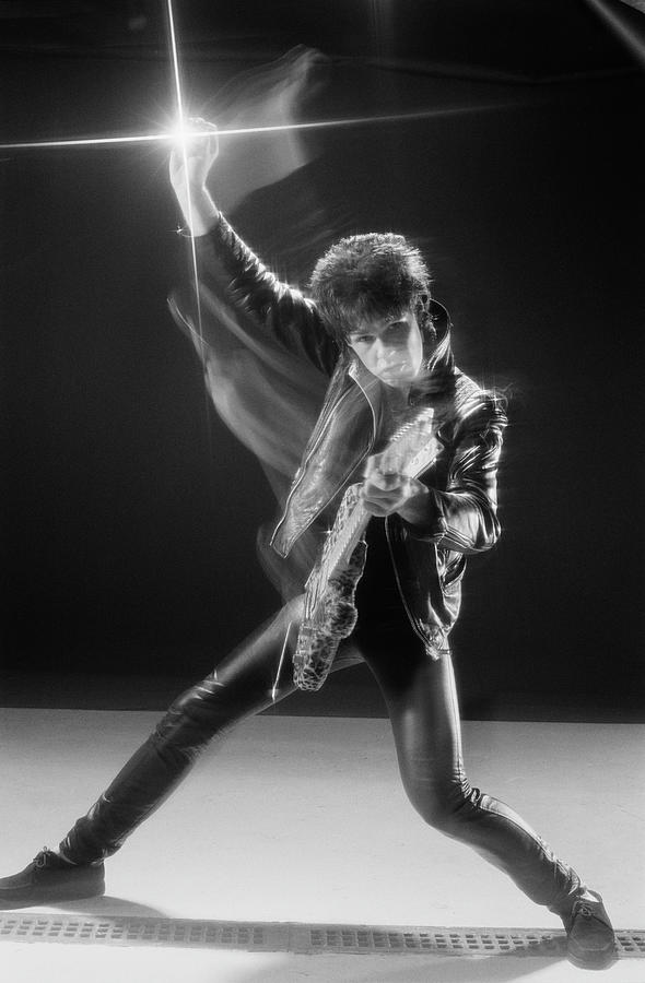 Gary Moore In Leather Photograph by Fin Costello