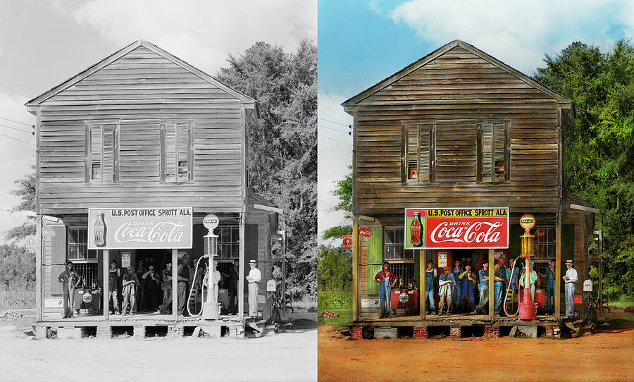 Gas Station -  Sprott AL - Crossroads store 1935 - Side by Side by Mike Savad