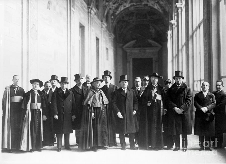 Gasparri And Mussolini At Lateran Palace Photograph by Bettmann