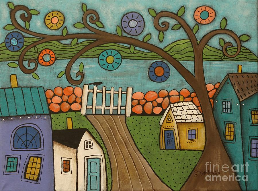 Folk Art Landscape Painting - Gate To Sea by Karla Gerard