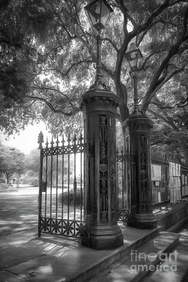 Gates Of Jackson Square In Charcoal Photograph
